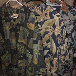 THREE Tommy Bahama men's Hawaiian button downs